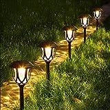 AODOOR Solarleuchten Garten, 6 Stück Solar Gartenleuchte, IP44 Wasserdicht Solar Wegeleuchte Gartenleuchte Dekorative Licht für Außen, LED Warmweiß Solarlampen für Terrasse Rasen Garten Hofwege
