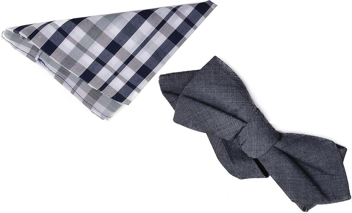 Alfani Spectrum Gingham Pre-tied Bow Tie & Solid Pocket Square Set Grey