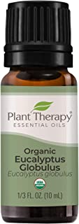 Plant Therapy USDA Certified Organic Eucalyptus Essential Oil. 100% Pure, Undiluted, Therapeutic Grade. 10 mL (1/3 Ounce).