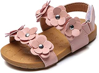 JUERYEE FASHION Toddler Girl's Flower Open Toe Strap Sandals Summer Flat Princess Shoes(Toddler/Little Kid)