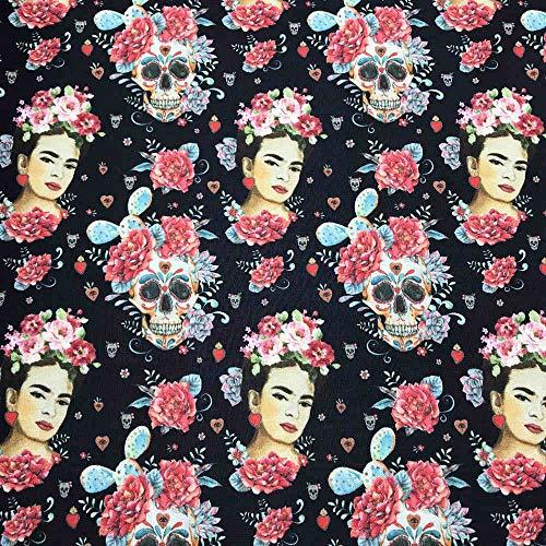Kt KILOtela Tela por Metros de loneta Estampada Digital - Half Panamá 100% algodón - Ancho 280 cm - Largo a elección de 50 en 50 cm | Frida Kahlo y catrinas - Negro, Rosa