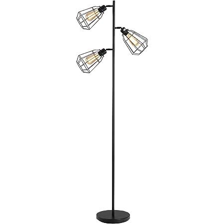 HOMCOM Lampadaire Design Industriel 3 Ampoules Max. 40 W Abat-Jour Cage métal Noir