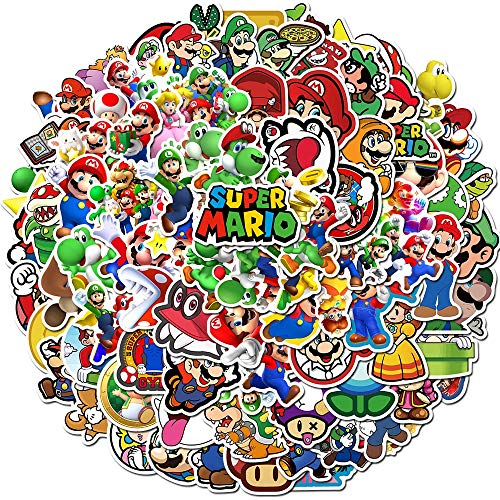 Adesivi anime 200 Pz/lotto Super Mario Anime Gioco Adesivi per cartoni animati Fai da te Bike Travel Bagagli Chitarra Laptop Impermeabile PVC Adesivi giocattolo classici