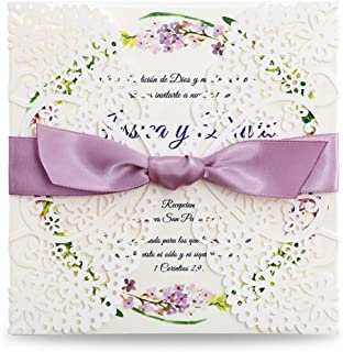 DreamBuilt Square Wedding Invitations Cards Kits Fall Bridal, Baby Shower Invite, Birthday Invitation Wedding Rehearsal Dinner Invites, Autumn Engagement Bach with Purple Bowknot Hollow,50pc (50)