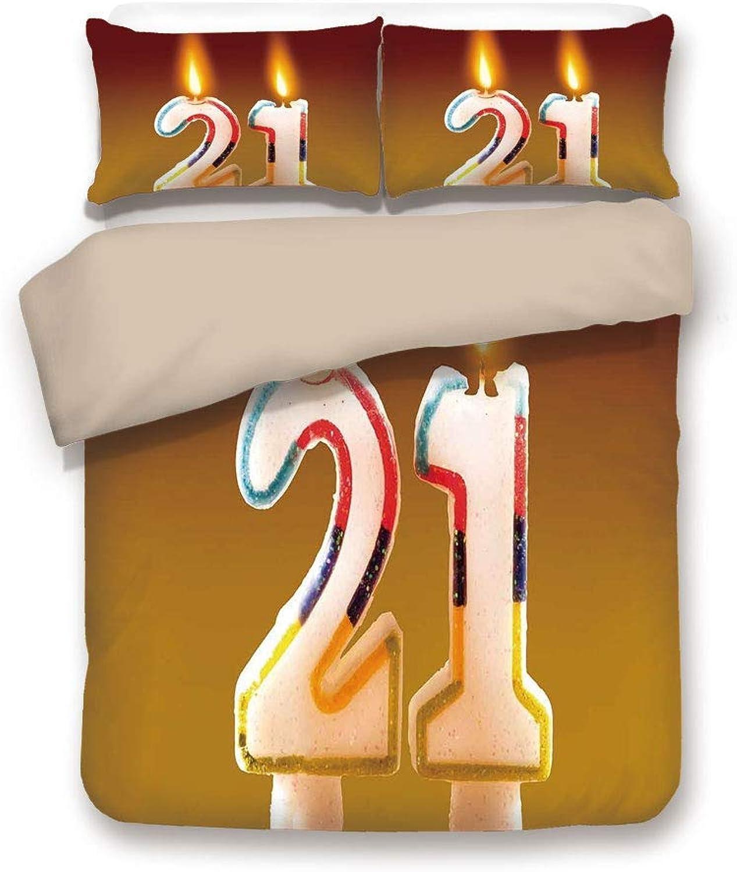 ahorra hasta un 70% LnimioAOX Conjunto de de de Funda nórdica, Parte Posterior de Color Caqui, Decoraciones de cumpleaños número 21, Coloridas Velas de Arco Iris en un Pastel de Fiesta, Imagen Abstracta de Sake, Juego de Cama  orden en línea