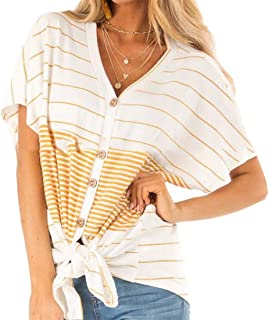 desolateness Women Stripe Splicing Shirts Short Sleeve Button Front Knot Hem Casual V Neck Loose Tunics Tops