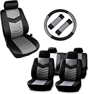 AUTOMUTO Black/Gray Full Set Seat Covers w/Steering Wheel Cover Front Rear Coverage Protection for Cars