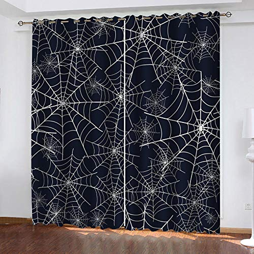 KJQTEN Curtains 3D Digital Printed Spider Web Pattern Decorative Eyelet Curtains, for Kitchen, Bathroom, Children Bedroom and Living Room Blackout Curtains 160x200cm ( W x H ) 2 Panels