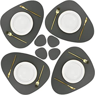 Olrla PU Leather Placemats and Coasters Set,4 Placemats 17.7''x15'' and 4 Coasters 5.1''x 4'', Waterproof Wipeable Heat-Re...
