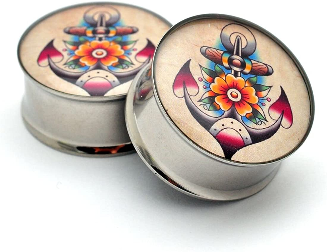 Mystic Metals Body Jewelry Double Flare Traditional Anchor Picture Plugs - Sold As a Pair