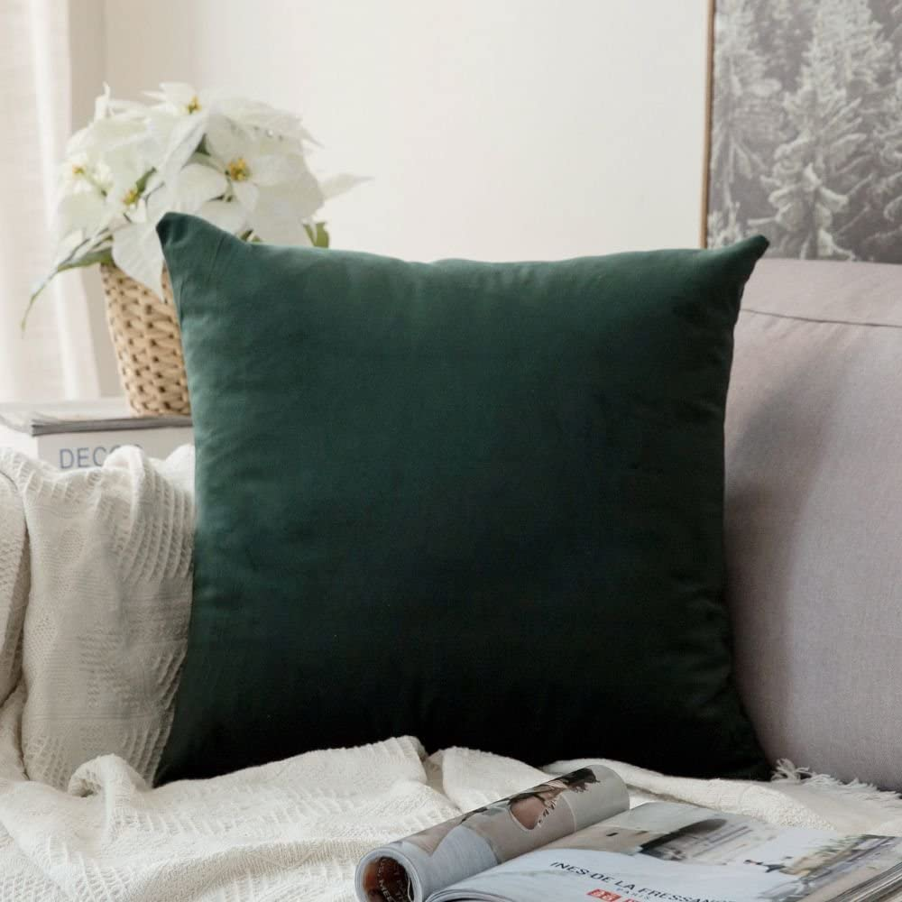 MIULEE Velvet Pillow Cover Decorative Square Pillowcase Soft Soild Green Cushion Case for Sofa Bedroom Car 22 x 22 Inch 55 x 55 cm