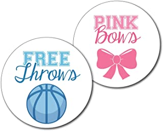36 2.5-inch Free Throws and Pink Bows - Basketball Gender Reveal Party Stickers