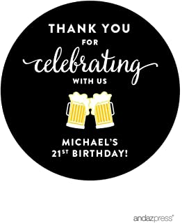 Andaz Press Personalized Birthday Round Circle Labels Stickers, Thank You for Celebrating with Us, Beer Mugs Cheers!, 40-Pack, for Gifts and Party Favors, Custom Name