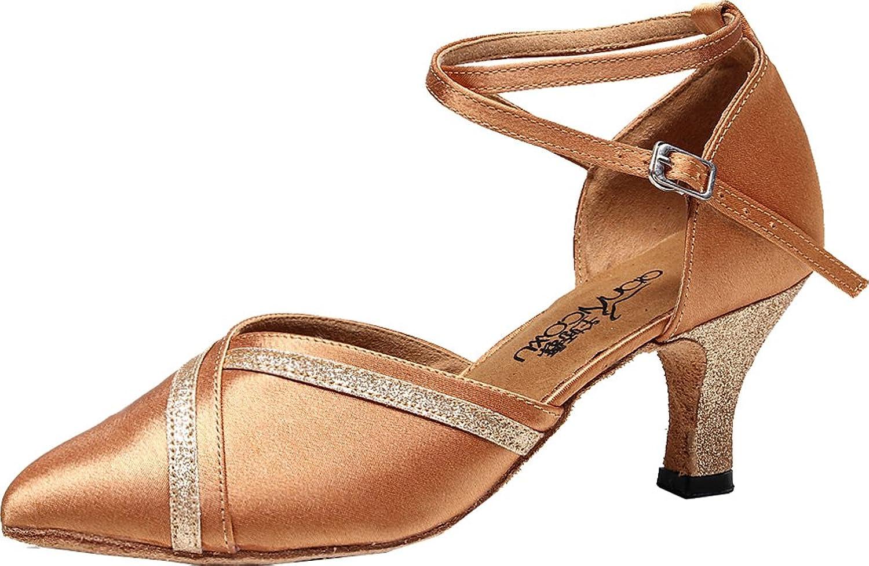 Abby Women Closed Toe Kitten Heel Professional Latin Dance shoes Ballroom Salsa 7141