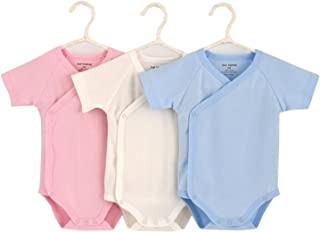 Baby Boys Girls Short Sleeves Kimono Onsies Cotton Baby Side-Button Bodysuit Pack of Cardigan Onsies for Infants