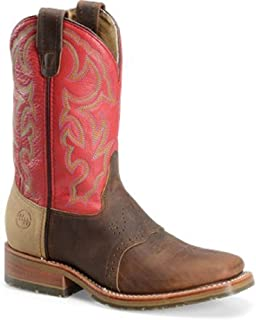 Double H Men's Ice Outsole Durable Cowboy Boot with Red Shaft and Square Toe