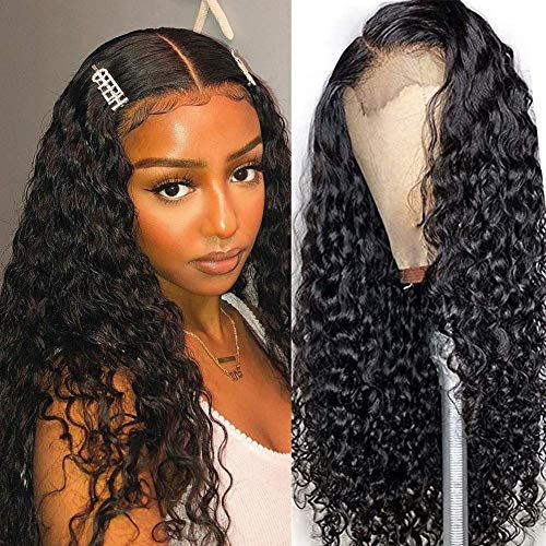 ISEE Hair Lace Front Wigs Human Hair Wigs Deep Water Wave Brazilian Curly Hair 4x4 Lace Closure Wavy Wigs for Black Women Pre Plucked with Baby Hair Natural Black Color (20 Inch 150% Density)