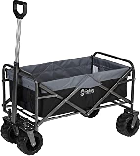 Sekey Updated Version Folding Wagon Cart Collapsible Outdoor Utility Wagon Garden Shopping Cart Beach Wagon with All-Terrain Wheels, Black with Gray
