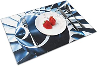 POQQ Placemats for Dining Table Jet Engine 2, Washable Easy to Clean PVC Placemat, Heat Resistand Kitchen Dinner Table Mats 12x18 Inches Set of 4
