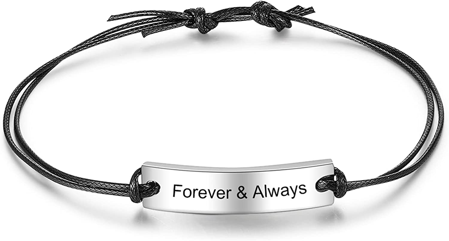 Infinimade Men Engraved Name Bracelet Max 48% OFF Personalized Adjustable ID Now free shipping