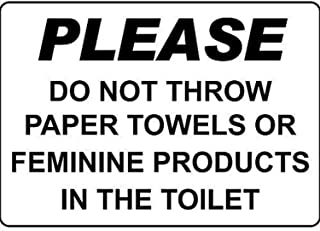 TTDECK Metal Signs for Outdoors Please Do Not Throw Paper Towels Products Toilet Aluminum Metal Sign 8 X12 Inch
