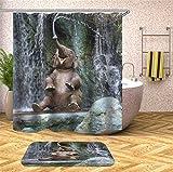 Fansu Tende da Doccia Antimuffa Impermeabile, 3D Moderne Digitale Elefante Stampato Moderne Poliestere Resistente Tessuto Lavabile Tenda della Vasca da Bagno con 12 Ganci (180x200cm,G)