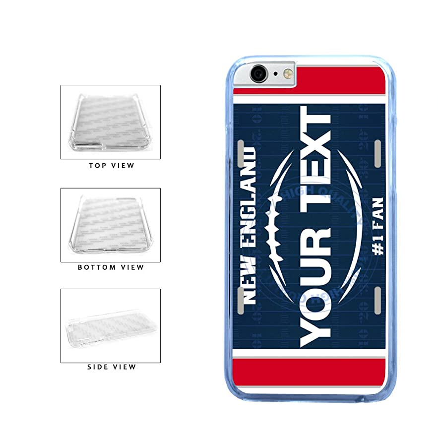 BleuReign(TM) Personalized Custom Name Football New England License Plate Clear Sides Plastic Phone Case Back Cover For Apple iPhone 6 6s (4.7 Inches Screen)