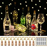 YOEEN 10 Pack 20 LED Wine Bottle Lights with Cork, 3.3ft Silver Wire Cork Lights Battery Operated Fairy Mini String Lights for Liquor Bottles Party Wedding Christmas Bar Decorations, Warm White
