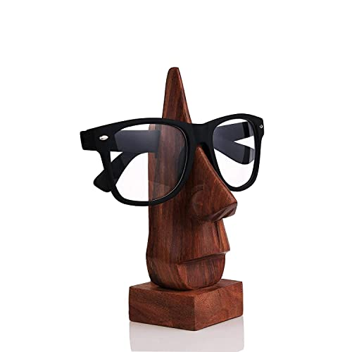 IndiaBigShop Wooden Handmade Nose-Shaped Eyeglass Spectacle Holder, Spec holder, Eyewear Retainer, Sunglasses Holder, Spectacle Display Stand, 6 X 2.5 Inch