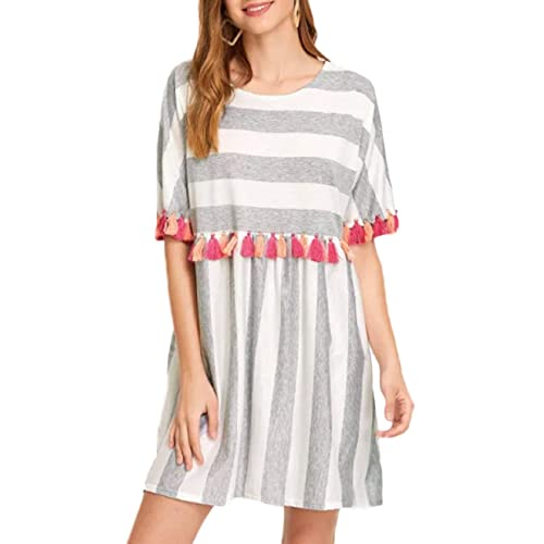 75e1aeb8 AINORS Women's Plus Size Casual Loose Round Neck Short Sleeved Striped  Colorful Tassel Trim Dress