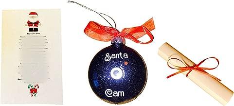 Santa Cam Ornament With Santa Cam Poem Scroll - Santa Spy Cam Black Glittered Camera Lens Replica Ornament