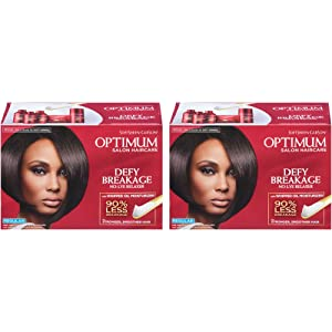 SoftSheen-Carson Optimum Salon Hair Care Defy Breakage No-Lye Relaxer, Regular Strength for Normal Hair Textures, Optimum Salon Haircare, Hair Relaxer with Coconut Oil, 2 Count
