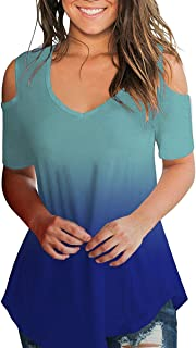 SLIMMING GRIL Women's Casual T Shirt V Neck Cold Shoulder Tops Short Sleeve Tshirt