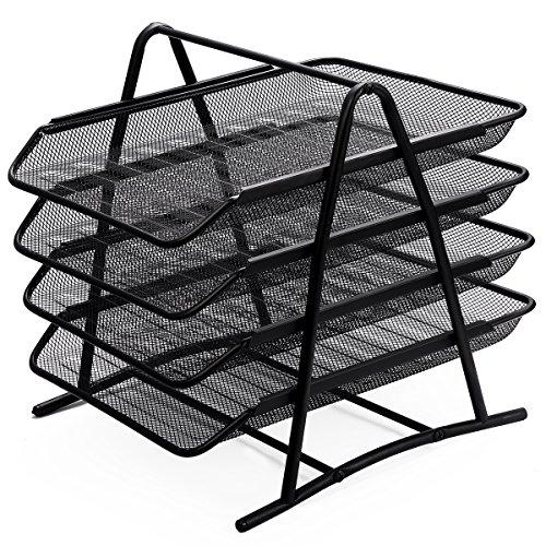 Zuvo Organizador de escritorio de malla de 4 niveles, organizador de cartas, oficina, escritorio, documentos, archivo, colección de relleno de malla para uso doméstico y en la oficina (negro)