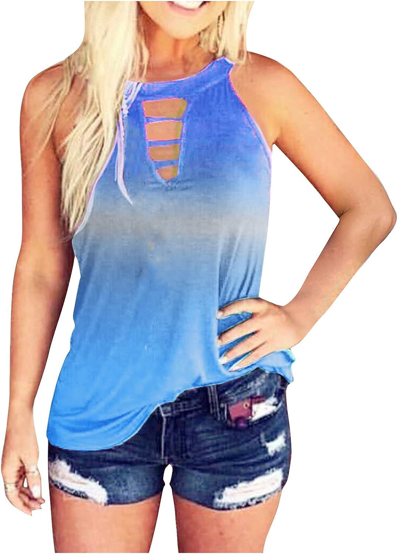 Sayhi Summer Tank Tops for Women Fashion Round Neck Tie-dye Loose Top Vest Blouses Vest