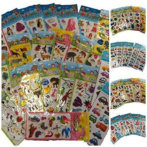 Fat-Catz-Copy-Catz - Fogli piccoli con adesivi, per bambini, raffiguranti insetti, auto e camion, moda, orsetti, coniglietti e altro, per piccoli lavoretti, album di fotografie, bigliettini, carta da regalo e borse da festa, 25 pezzi