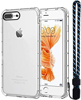 Calmpal iPhone 8 Plus Case,iPhone 7 Plus Case,Clear TPU Ultra Slim Reinforced Frame Crystal Clear Shock-Absorption Flexible Soft TPU Bumper with Wrist Strap for iPhone7/8 Plus