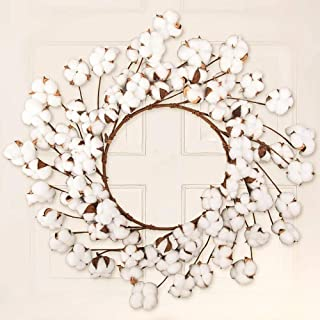 CEWOR 26 Inch Real Cotton Wreath Christmas Vintage Wreath for Front Door Festival Hanging Farmhouse Decor