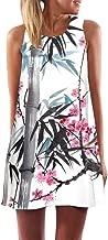 Rmeioel^ Womens Dress Summer O-Neck Boho Sleeveless Floral Printed Beach Mini Dress Casual T-Shirt Short Dresses