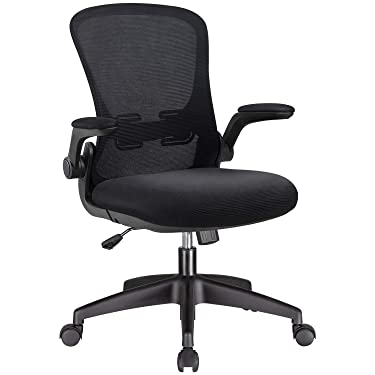 Office Chair Mesh Desk Chair with Lumbar Support High Back Swivel Computer Chair Ergonomic Executive Chair with Flip-up Armrest, Black