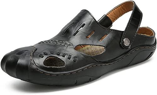 CHENXD Schuhe, Herren Atmungsaktive Schalter Backless Closed Toe Sommer Strand Hausschuhe Schneiden Echtes Leder Vamp rutschfeste Sandalen (Farbe   Schwarz, Größe   44 EU)