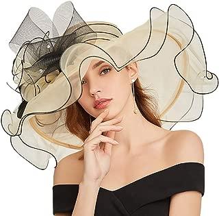 KN Accessories Women's Organza Church Kentucky Derby Hat Bridal Tea Party Wedding Hat Wide Brim Curling Embroidery Hat