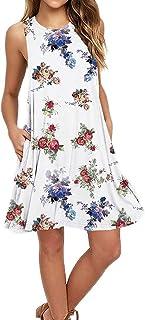 Vestido de Verano para Mujer, Vestido Corto Corto con Estampado de Plumas para Mujer, sin Mangas, para Mujer, Fiesta de Verano, para Mujeres