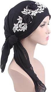 Women's Muslim Scarf Hat Stretch Turban Long Tail Headwear for Cancer Chemo
