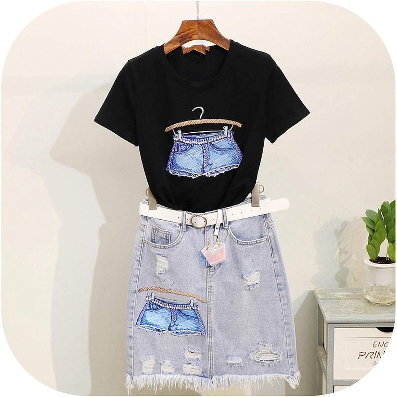 Enjoypeak Denim Jeans Skirts Suit Lady Summer Sequined Hanger Printed ShortSleeved TShirt + Grinded Jean