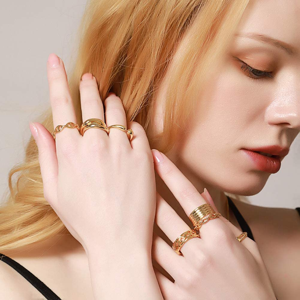 Humano Stainless Steel Gold Dainty Rings Irregular Wave Open Adjustable Band Ring High Polish Minimalist Gold Band Matching Rings for Friends Stackable Rings for Women