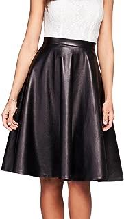 Womens Print Flare Pleated Midi Elastic Waist A-line Skirt