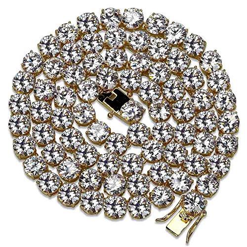 JINAO 18k vergoldete 1-reihige 8 mm Labor künstliche Diamant-Iced Out-Kette Herren Hiphop Tennis-Halskette (gelbe Halskette, 30)