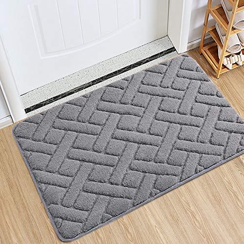 """Indoor Doormat Front Door Rug, 24""""x36"""" Absorbent Machine Washable Inside Door Mat, Non Slip Low-Profile Entrance Rug for Front Door, Back Door, Grey"""