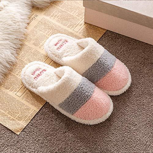 Zapatillas Casa Hombre Mujer Zapatillas De Hombre Zapatillas De Color A Juego para Hombre De Felpa De Algodón Coral Polar Suave Zapatillas para Hombre Interior Invierno Dormitorio Plataforma-Pink